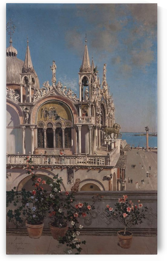 Pots of flowers in front of the Church by Martin Rico y Ortega