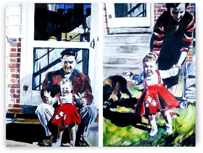 Louisiana Mother and Father with Girl in Red Dress Diptych 1951 by Caroline Youngblood