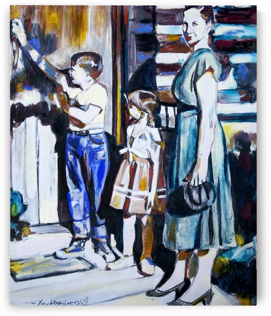 Louisiana Mother with Children at the Door by Caroline Youngblood