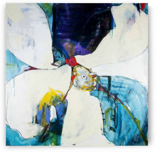 Square Louisiana Magnolia Abstraction with Teal by Caroline Youngblood