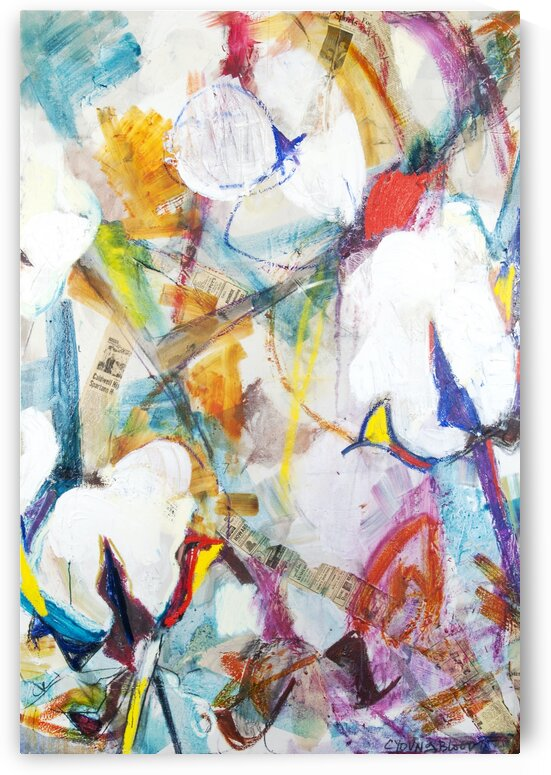 Large Cotton Abstraction with Bold Colors by Caroline Youngblood