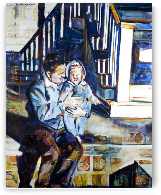 Louisiana father with daughter at the Foot of the Stairs 1952 with vintage recipe collage by Caroline Youngblood