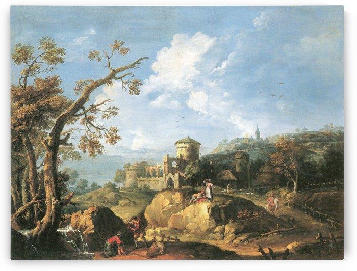 Landschaft mit Burg by Thomas Ender