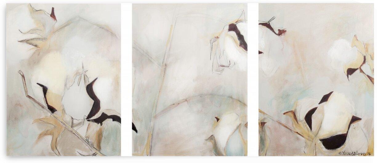 Spa Louisiana Cotton Triptych by Caroline Youngblood