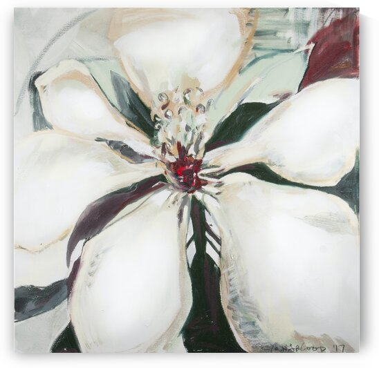 Large Square Louisiana Magnolia with Metallic Gold by Caroline Youngblood