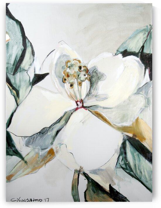 Louisiana Magnolia Triptych Panel iii by Caroline Youngblood