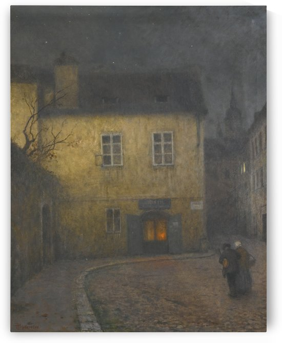 A couple on the street in the night by Jakub Schikaneder