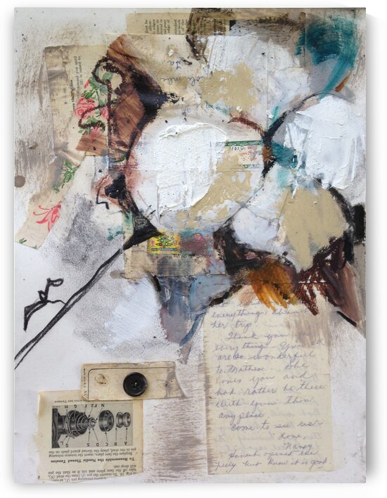Louisiana Cotton with Vintage Collage III by Caroline Youngblood