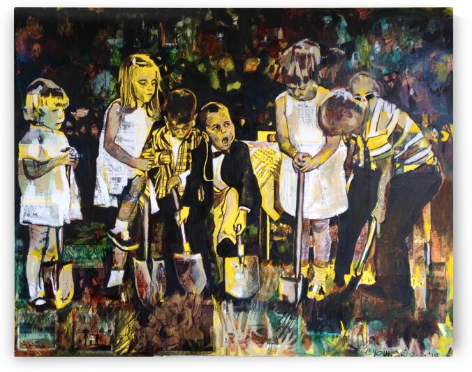 Louisiana Children Breaking Ground 1956 Collage  by Caroline Youngblood