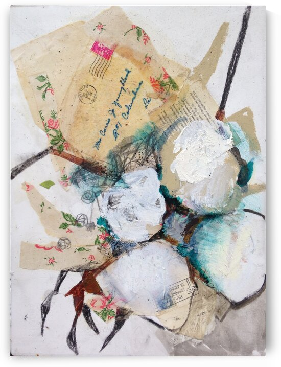 Louisiana Cotton with Vintage Collage by Caroline Youngblood