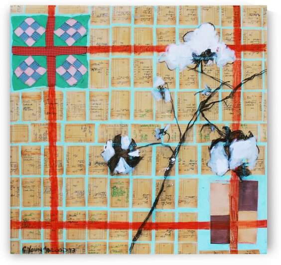 Louisiana Quilt with Cotton  and Vintage Company Store Receipts by Caroline Youngblood