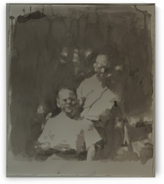 Father and Son Watercolor 1950s 8mm Film Still by Caroline Youngblood