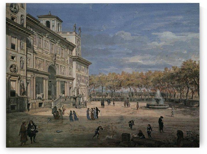 Villa Medici and garden in Rome by Caspar van Wittel