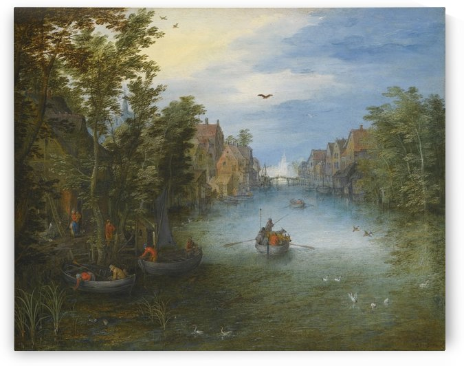 Boats by the river by Caspar van Wittel