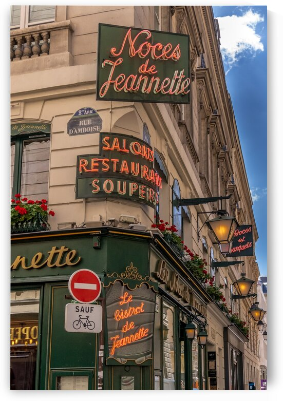 Parisian Restaurant Sign in Neon by Jean Farrell