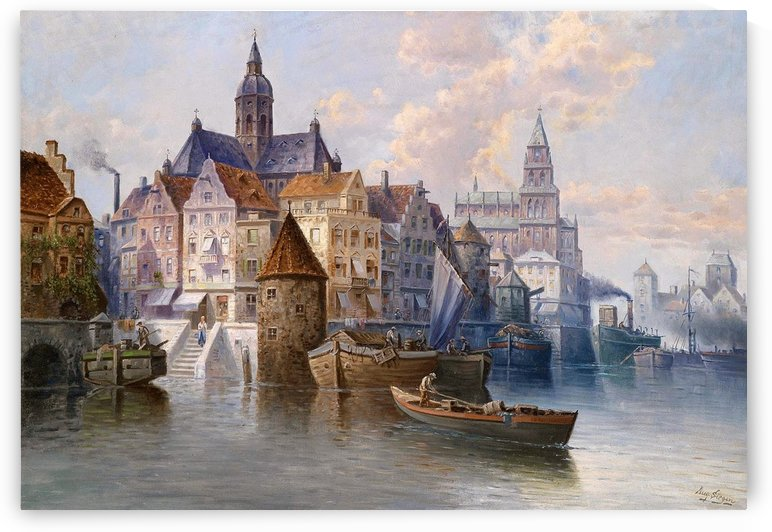 Boats in the port by August von Siegen