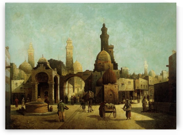 Figures Outside a North African Town by August von Siegen