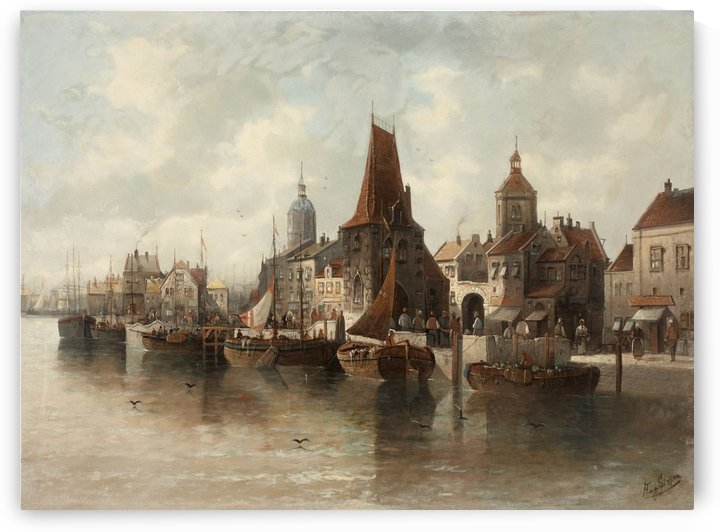 View of a seaport by August von Siegen