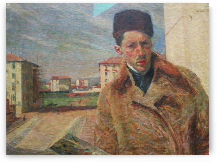 Self Portrait with hat by Umberto Boccioni