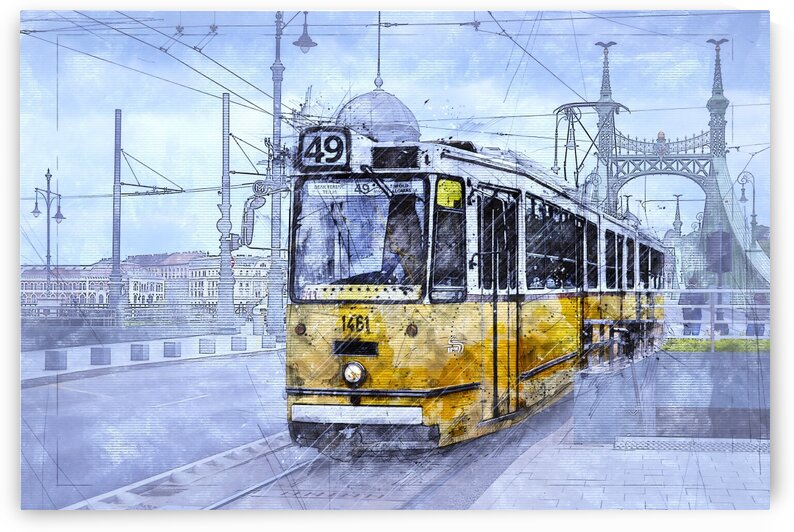 Tram Sketch Budapest Hungary by Angel
