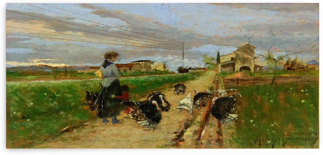 A woman with turkeys by Adolfo Tommasi