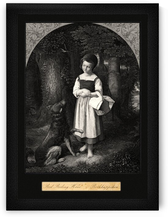 Little Red Riding Hood Encounters A Friendly Wolf In The Woods Engraving Classical Fine Art Reproduction by xzendor7