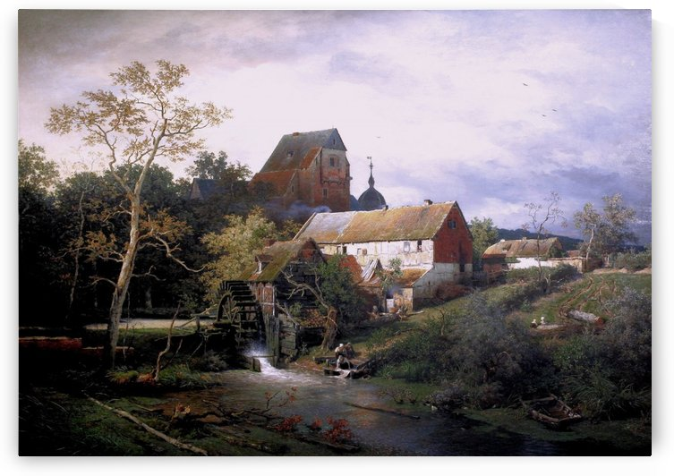 A mill in the village by Andreas Achenbach