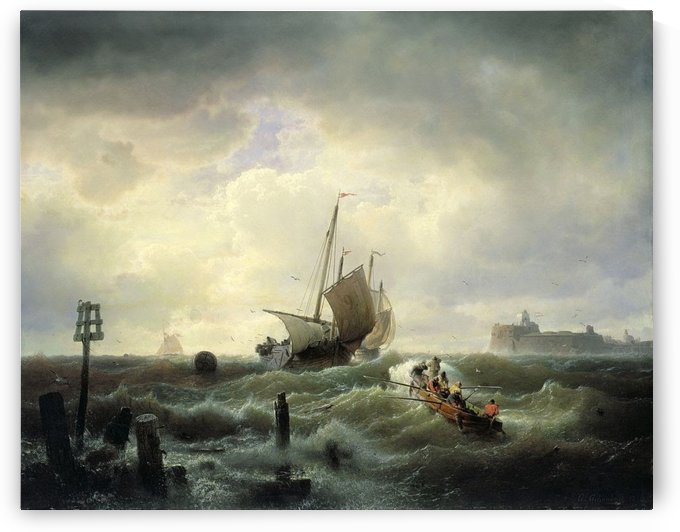 Boats in storm by Andreas Achenbach