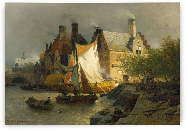 Anlegende Boote by Andreas Achenbach