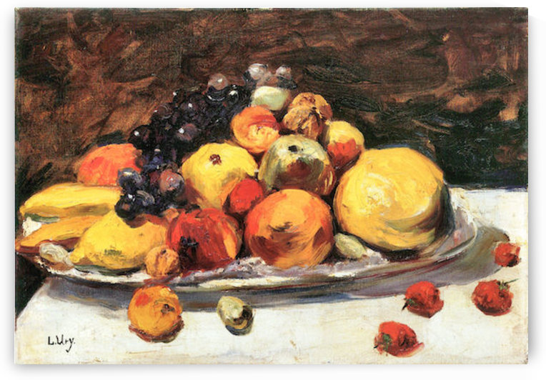 Fruit still life on a white blanket by Lesser Ury by Lesser Ury