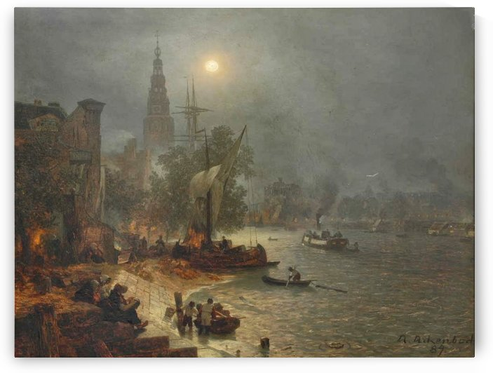 The harbor in the night by Andreas Achenbach