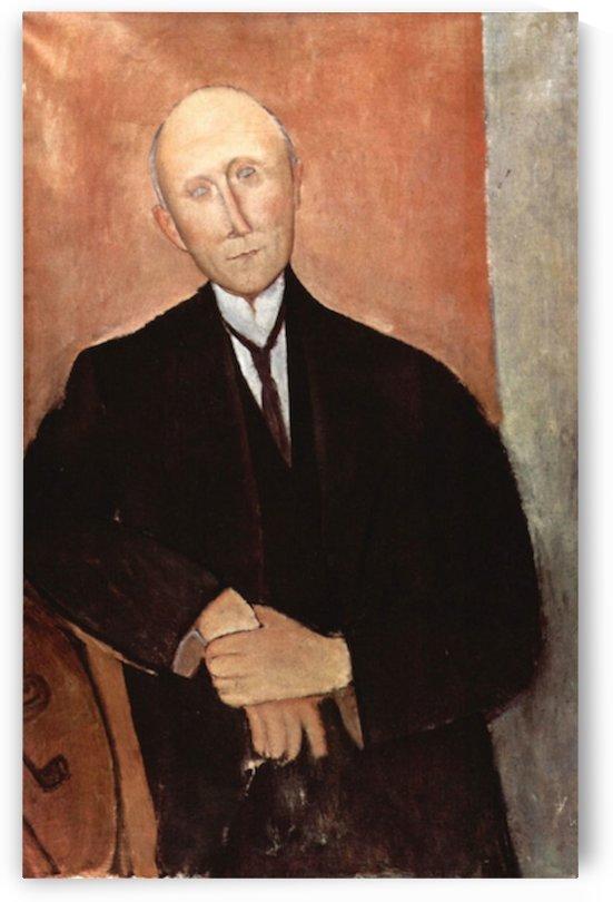 Modigliani - Sitting man with orange background by Modigliani