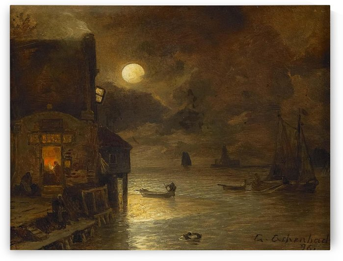 Full moon on the quay by Andreas Achenbach