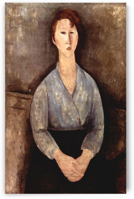 Modigliani - Sitting woman with blue blouse by Modigliani