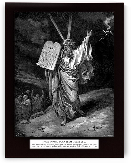 Moses Comes Down from Mount Sinai by Engraving by H. Pisan Old Masters Classical Art Reproduction by xzendor7