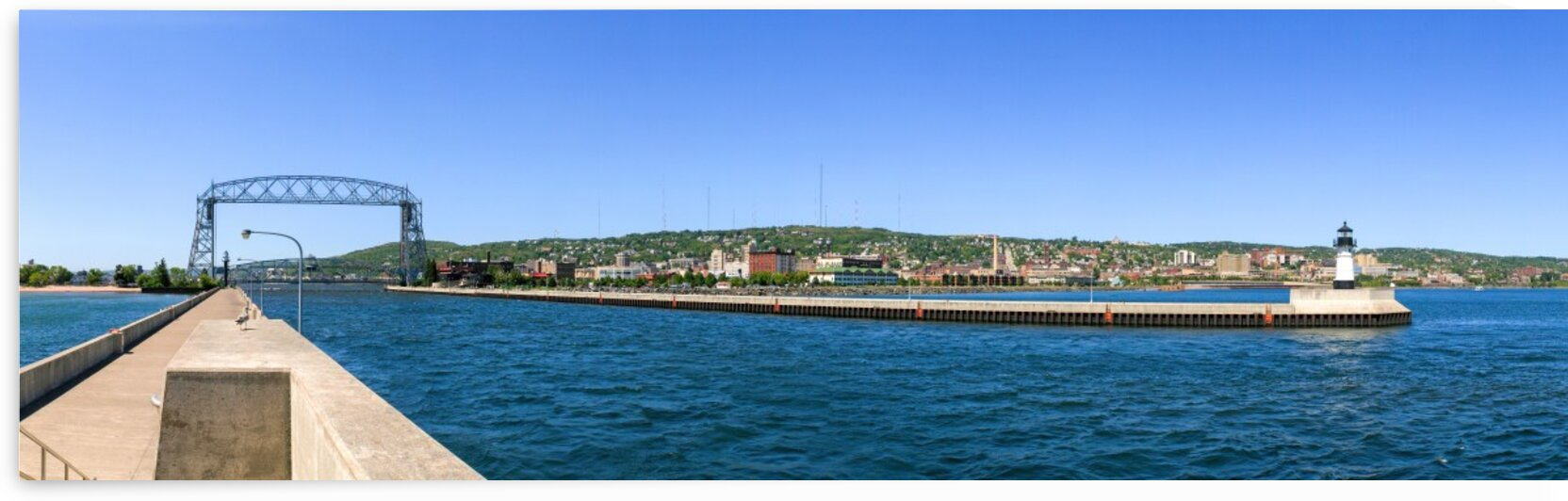 Duluth Aerial Lift Bridge Pier Clear Sky Panoramic Photo by Jonathan Kozub