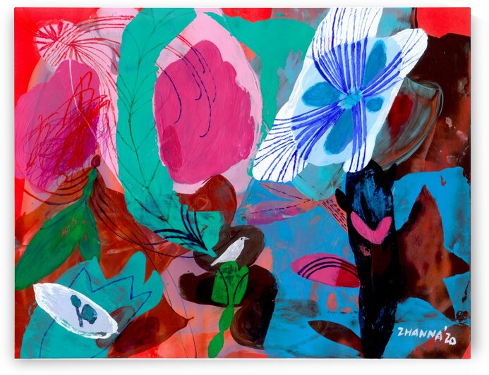 Green Feather by Zhanna Shomakhova