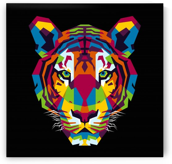 The Colorful Tiger Head Pop Art Style by wpaprint