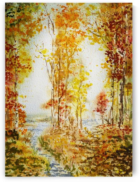 Autumn Forest Falling Leaves by Irina Sztukowski