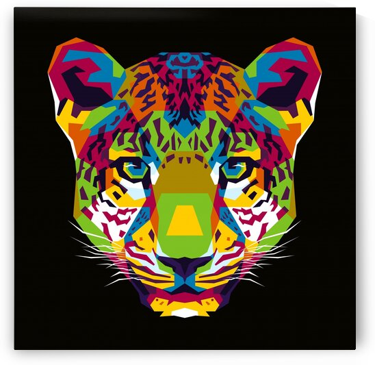 The Colorful Leopard Head WPAP Style by wpaprint