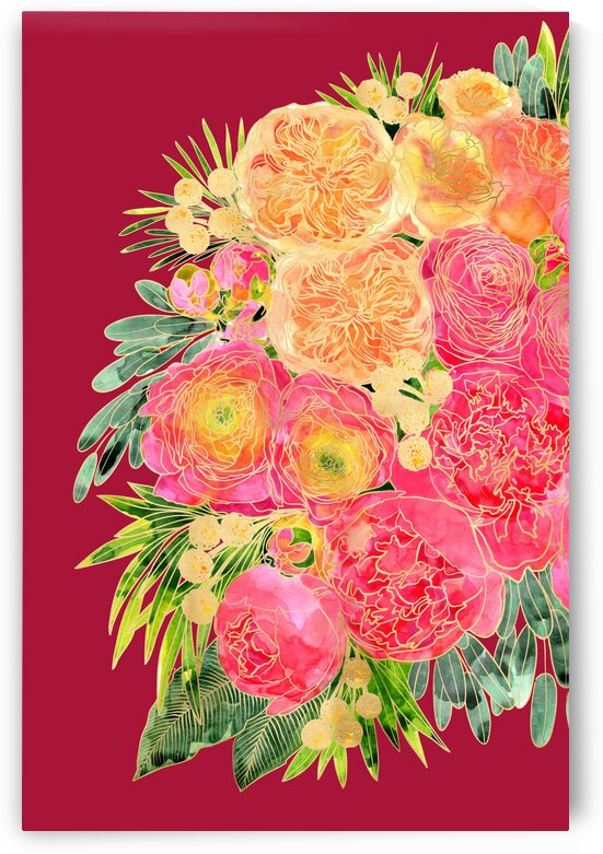 Rekkafloralwatercolorbouquetincrimson 3  by blursbyai