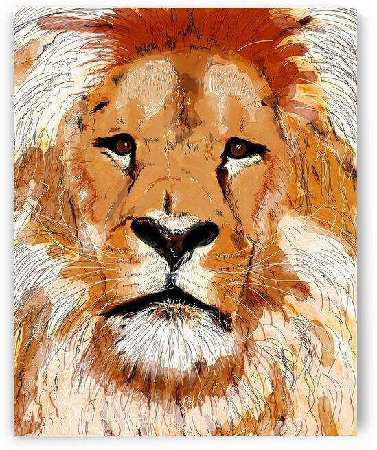 Lion avec jaune by Julie St Pierre