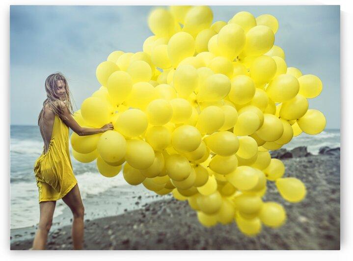 Happy girl with yellow balloons 2 by Elena Vizerskaya