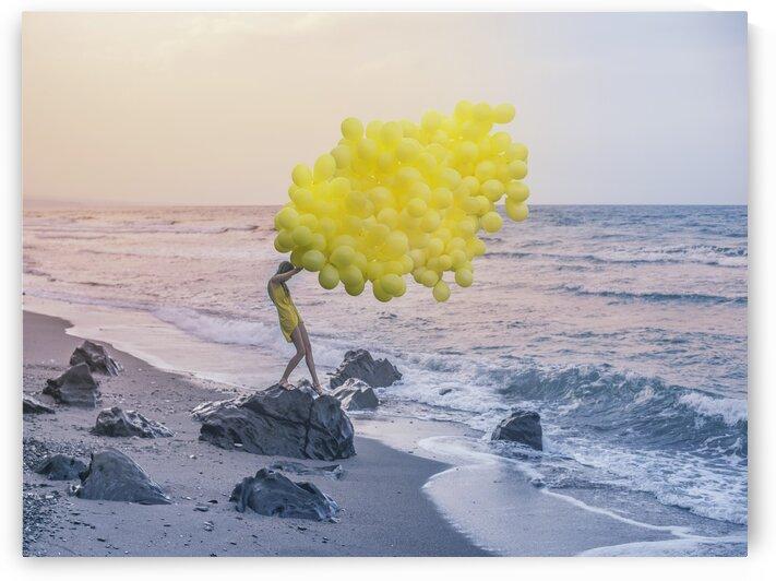 Girl with yellow balloons by Elena Vizerskaya