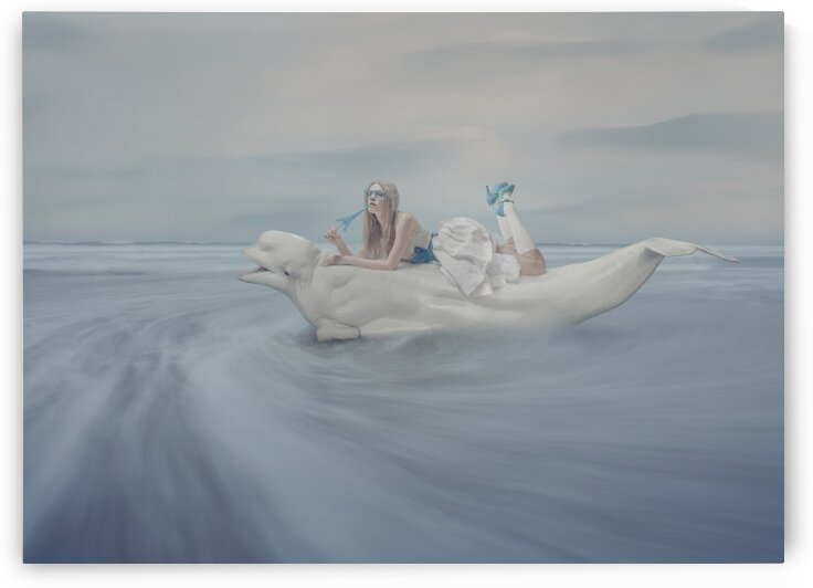 Girl on white whale by Elena Vizerskaya