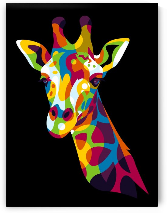 The Colorful Giraffe Head Pop Art Portrait by wpaprint
