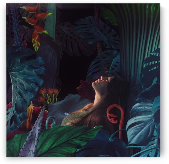 girl in night jungle by Elena Vizerskaya