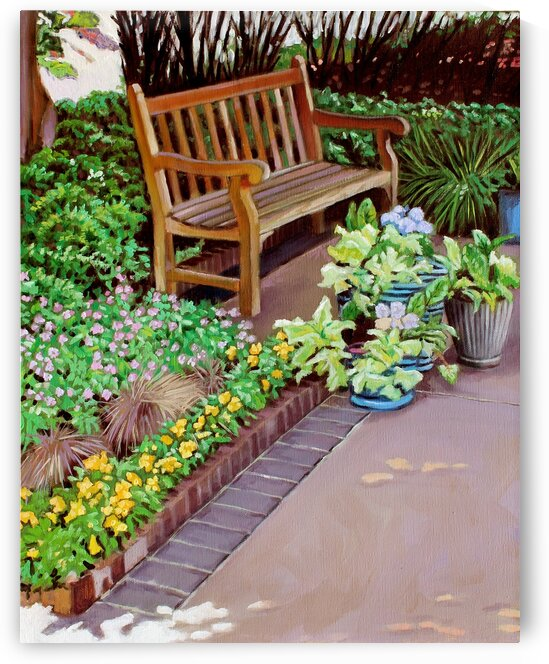 Wood Bench with Flowers by Rick Bayers