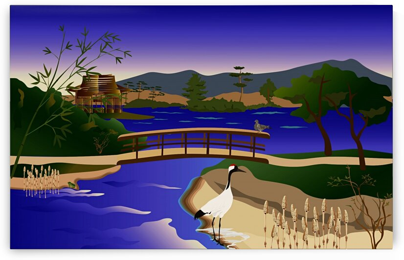 Crane Bird At The Pond_OSG by One Simple Gallery