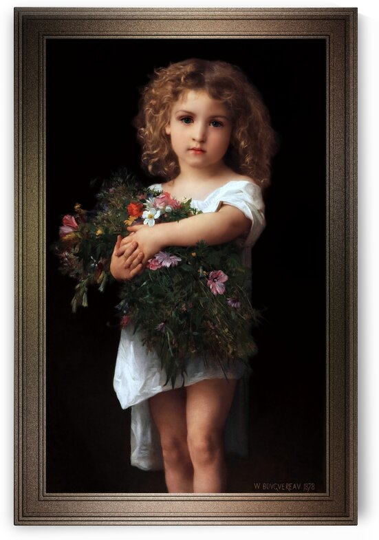 Little Girl With Flowers by William-Adolphe Bouguereau Classical Art Old Masters Reproduction by xzendor7